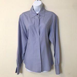 Valerie Stevens Pure Silk Light Blue Button Up